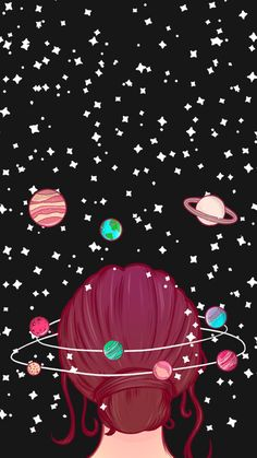 iphone wallpaper for girls galaxy wallpaper iphone, cartoon image of a girl with red hair in a bun, surrounded by planets and stars, black background Planets Wallpaper, Wallpaper Space, Cute Wallpaper Backgrounds, Wallpaper Iphone Cute, Cellphone Wallpaper, Aesthetic Iphone Wallpaper, Wallpaper For Girls, Wallpaper Quotes, Sagittarius Wallpaper