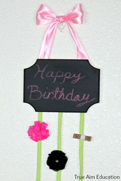 DIY Chalk Board card and hair clip holder to display and write holiday greetings.