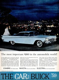 See inside & out of some classic Buicks, including Le Sabre, Invicta & Electra cars - Click Americana Retro Cars, Vintage Cars, Vintage Auto, Buick Wildcat, Best Family Cars, Buick Electra, Buick Cars, Car Advertising, Old Ads
