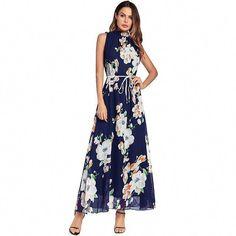 Ruiyige 2018 Women Summer Chiffon Boho Style Off Shoulder Long Floral Print  Dress Elegant Vintage Party Belt Maxi Beach Vestido ce98b16abdd2