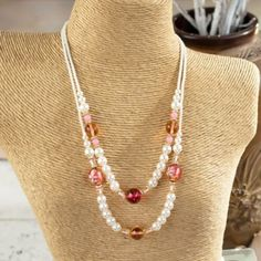 Pearl and Red Venetian Glass Necklace