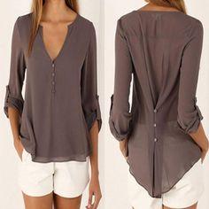 Fashion Women Casual V Neck Long Sleeve Chiffon T Shirt Summer Loose Tops Blouse | eBay