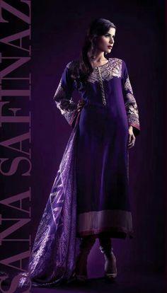 Boski silk suit with embroidery on neck and sleeves. Jacquard border. Cotton silk shalwar & silk dupatta. $155 (un stitched) #SanaSafinaz