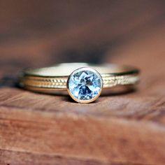 Aquamarine engagement ring - 14k yellow gold - wheat band 460.00