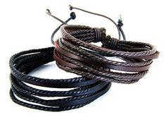 New Simplistic Multi-strap Leather bracelets.  Beautiful!    #leatherbracelet #realleather #cutebracelet