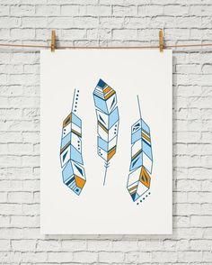 beautiful wall print - Feather print, wall art, feather art print, abstract feather, geometric feather
