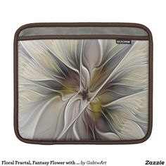 Floral Fractal, Fantasy Flower with Earth Colors iPad Sleeve