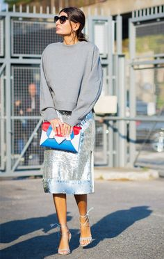 Sparkle beautifully in the sunlight with a shimmering midi skirt.