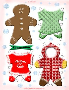Christmas Paper Doll for 2011 - Cotton Arts Boutique Christmas Rock, Christmas Gingerbread, Christmas Paper, Christmas Crafts, Winter Christmas, Christmas Activities, Christmas Printables, Paper Toys, Paper Crafts