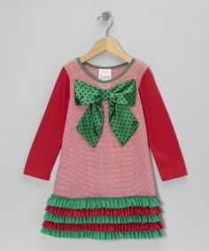 Take a look at this Pink & Green Stripe Bow Ruffle Dress - Toddler & Girls by Freckles + Kitty on #zulily today!