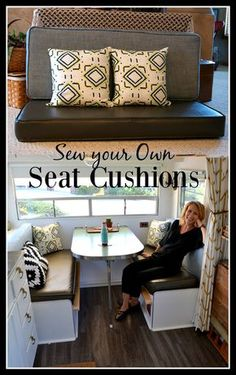 Upholstering your own seat cushions is a daunting task, even for a sewing pro. Read on for tips and tricks on how to tackle it, including how to make perfect piping and work with vinyl without it sticking to the machine. Happy sewing! #tinyhome #tinyhouseonwheels #vintagetrailer #happycamper