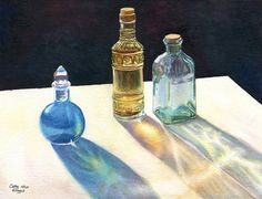 Glass Bottles in sun art watercolor painting by CathyHillegas, $39.00