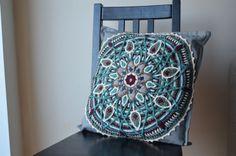 Mandala  crochet grey and turquoise pillowcase