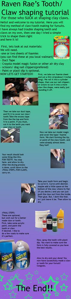 This is for all the losers like me who cant sculpt fursuit claws or teeth on their own. Fursuit claw and tooth Tut. Fursuit Tutorial, Body Tutorial, Clothes Crafts, Air Dry Clay, Simple Shapes, Cold Porcelain, Claws, Cosplay Ideas, Costume Ideas