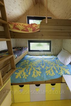 This is a tiny house bedroom with three beds from the NestPod Tiny House on Wheels by Jonathan Avery of Tiny Houses Scotland. Tiny House Bedroom, Home Bedroom, Bedroom Ideas, Cat Bedroom, Attic Bedrooms, Bed Ideas, Bedroom Decor, Tiny Cabins, Cabins And Cottages