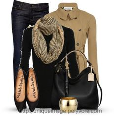 Black Sweater, Tan Scarf and Trench Coat, Dark Jeans, Black Flats and Handbag with a Gold Cuff Bracelet