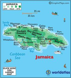 Jamaica--island nation in the Caribbean. Jamaican food - mixture of Caribbean dishes with local dishes. for Bob Marley, for reggae. also will visit nearby places, puerto rico etc. Jamaica Island, Jamaica Map, Jamaica Vacation, Jamaica Travel, Jamaica Honeymoon, Jamaica Hotels, Jamaica Ocho Rios, Jamaica Facts, Jamaica Excursions