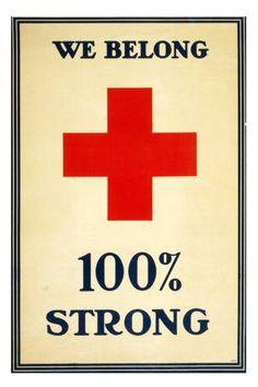 We Belong 100% Strong - 10 x 15 Vintage WWI Poster Art Print.