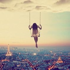 Swing from a cloud sky city girl clouds art swing cool lonely creative