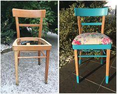 #Silla antigua de haya restaurada y con asiento nuevo tapizado.