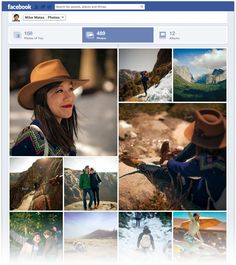 Now you'll see larger pictures that fill up the page when you click Photos at the top of your timeline. Facebook Timeline Photos, Facebook News, Facebook Marketing, Digital Marketing, Social Web, Social Media, Photo Mosaic, Search People, Branding