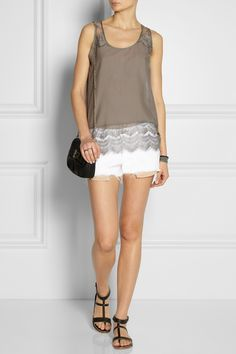 DAY Birger et Mikkelsen | Cotton and silk-blend top | rag & bone | The Mila mid-rise cut-off twill shorts | K Jacques St Tropez | Corvette leather sandals | Fendi | Fendista mini leather shoulder bag |