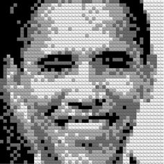 We love Lego and we always try our best to explore the new use of it. Today we will present you with a cool idea, to create a self-portrait made by Lego. Lego Portrait, Mosaic Portrait, Cross Stitch Designs, Cross Stitch Patterns, Star Terk, Kids Toys Online, Lego Club, Lego Toys, Lego Worlds