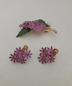 Vintage Lilac Brooch and Earrings Demi-Parure Enamel Flower | Etsy Lilac, Brooch, Earrings, Vintage, Inspiration, Jewelry, Ear Rings, Biblical Inspiration, Stud Earrings