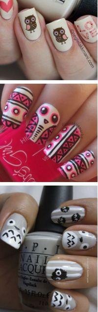 Cute Owl Ideas Nail Art Designs   Fashion Te