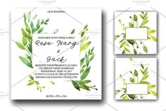 watercolor wedding invitation by Olesya Morokhovets on @creativemarket