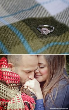 Engagement Photo Shoot: Fall engagement, using blankets as props. via Yellow Heart Art