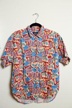 Vintage 80s/90s Aztec Tribal Kawaii Print Button Up Short Sleeve Shirt Jazzy Funky Fresh Prince Unisex by LipstickDinosaur on Etsy