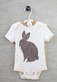 Bunny Onesie - Brown Bunny Organic Baby Onesie