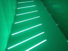 Neon blue installation in Summerhall - Edinburgh's newest arts venue.