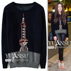 Find More Information about Yuansu Store new 2014 Fashion Tower pattern 2 illust fashion Dark Blue print slim wool pullover women's sweater thick sweater,High Quality sweater brush,China sweater peru Suppliers, Cheap sweater vest t shirt from yuansu  on Aliexpress.com