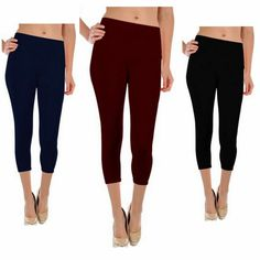 Women's Athletic Active Pants Running Yoga Gym Sports Capri Mid Rise Pants Tights Leggings