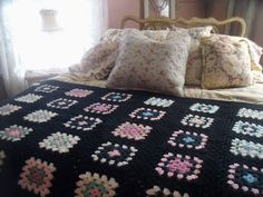 Vintage hand crochet granny square afghan blanket by Cindy's Cozy Clutter on eBay