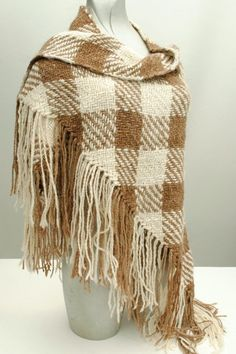 Peruvian Alpaca fringed hand woven triangle shawl very boho