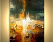 """Original Contemporary Abstract Painting Textured Gold Colorful Modern Palette Knife by Osnat 48"""" x 36"""""""