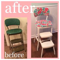vintage step stool chair makeover