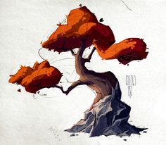 Trees, Anastasia Walker on ArtStation at https://www.artstation.com/artwork/3Qmx2