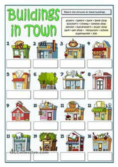 Buildings In Town - English Esl Worksheets images ideas from Worksheets Ideas English Primary School, Teach English To Kids, English Classroom, Teaching English, Learn English, Vocabulary Worksheets, Worksheets For Kids, English Vocabulary, English Grammar