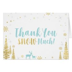Winter Birthday Thank You Card - Minty Blue & Gold - baby shower ideas party babies newborn gifts