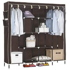 WOLTU Portable Clothes Closet Wardrobe Storage Cloth Organizer Fabric Steel Shoe Rack 10 Shelves with 12 Side Pockets Coffee -- You can find more details by ...  sc 1 st  Pinterest : cloth wardrobe storage  - Aquiesqueretaro.Com
