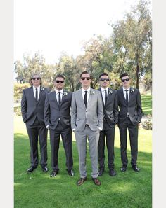 Groom wears light gray suit with the groomsmen in charcoal gray ~  all with black skinny ties ~ we ❤ this! moncheribridals.com