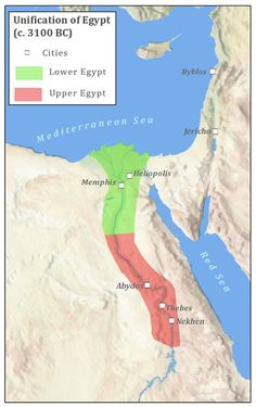 The First Unification of Egypt (circa 3100 BC). Ancient Egypt Map