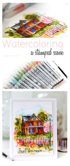 How to Watercolor a Stamped Scene by Julia Stainton featuring Art Impressions Stamps and Zig Clean Color Real Brush Markers