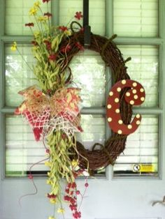 Grapevine wreath with initial by TheUniqueDoor on Etsy, $55.00