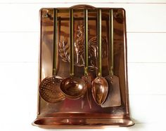 Antique French Copper set of 5 large copper kitchen by LaLoupiote