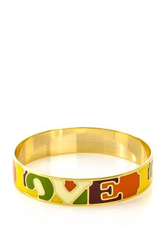 JARDIN 18K Gold-Plated Inner Enamel Thin Bangle